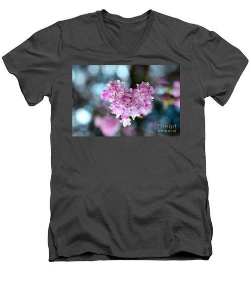 Pink Spring Heart Men's V-Neck T-Shirt