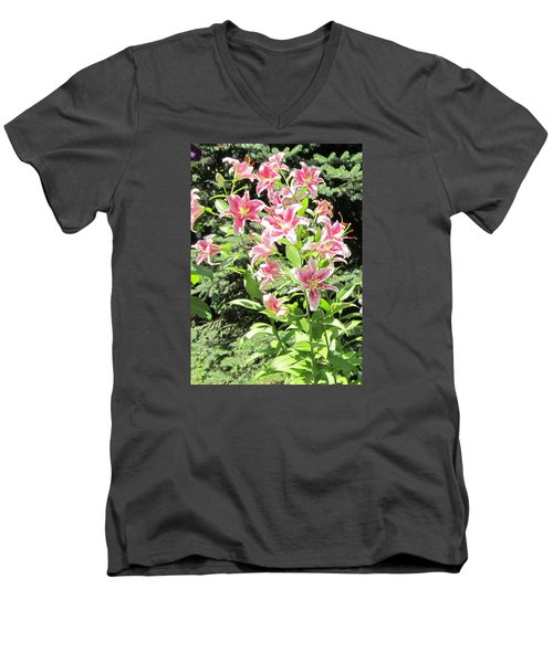 Pink Stargazer Lilies-greeting Card Men's V-Neck T-Shirt