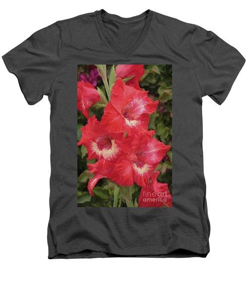 Pink Trumpet Painting In Digital Oil Men's V-Neck T-Shirt