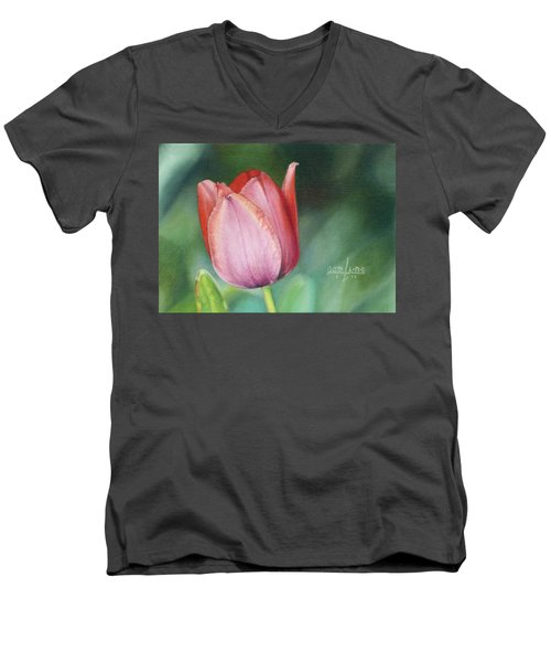 Men's V-Neck T-Shirt featuring the painting Pink Tulip by Joshua Martin