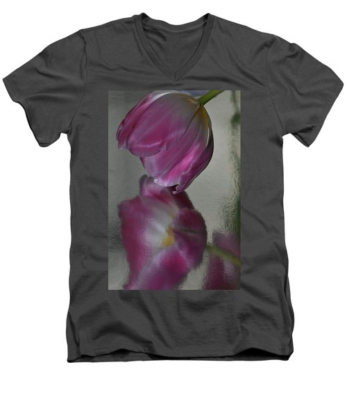 Pink Tulip Reflected In Silver Water Men's V-Neck T-Shirt
