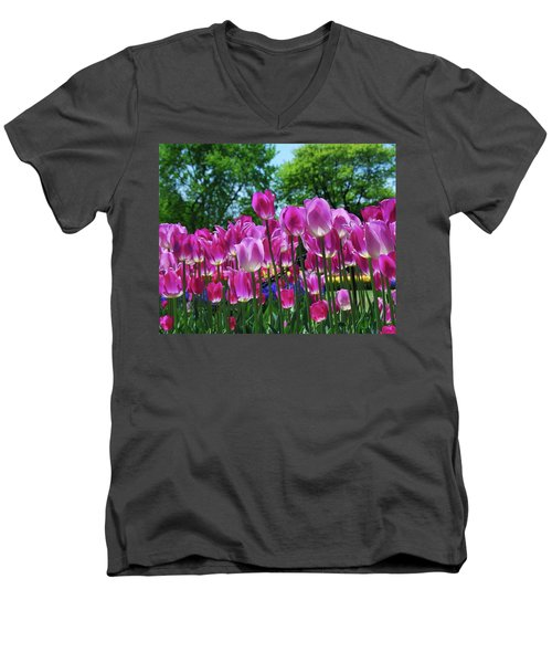 Men's V-Neck T-Shirt featuring the photograph Pink Tulips by Allen Beatty