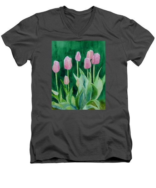 Pink Tulips Colorful Flowers Garden Art Original Watercolor Painting Artist K. Joann Russell Men's V-Neck T-Shirt by Elizabeth Sawyer