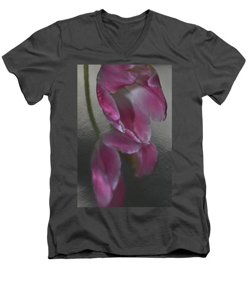 Pink Tulip Reflection In Silver Water Men's V-Neck T-Shirt