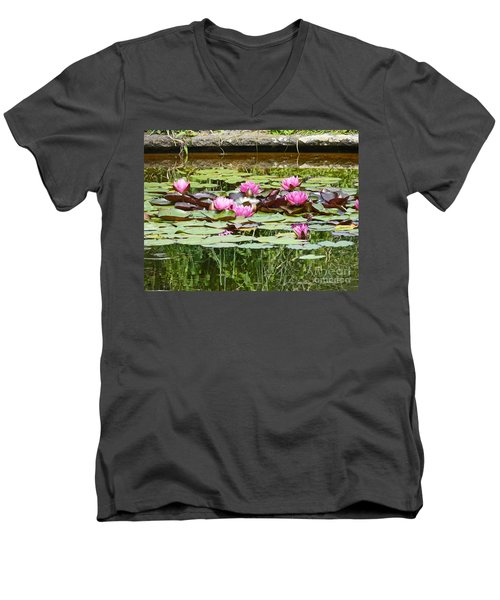 Pink Water Lilies Men's V-Neck T-Shirt