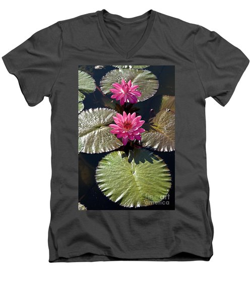 Pink Water Lily IIi Men's V-Neck T-Shirt
