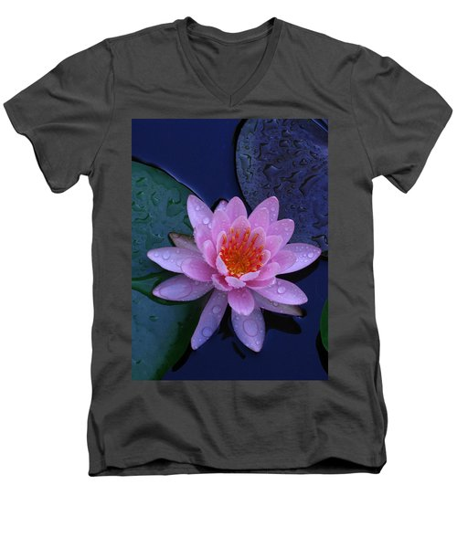 Men's V-Neck T-Shirt featuring the photograph Pink Waterlily by Raymond Salani III