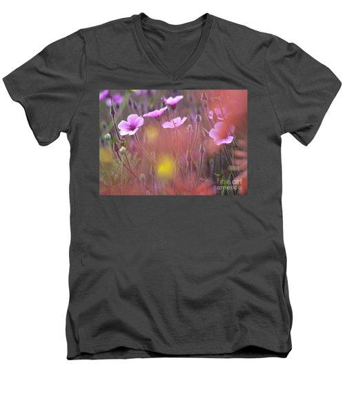 Pink Wild Geranium Men's V-Neck T-Shirt