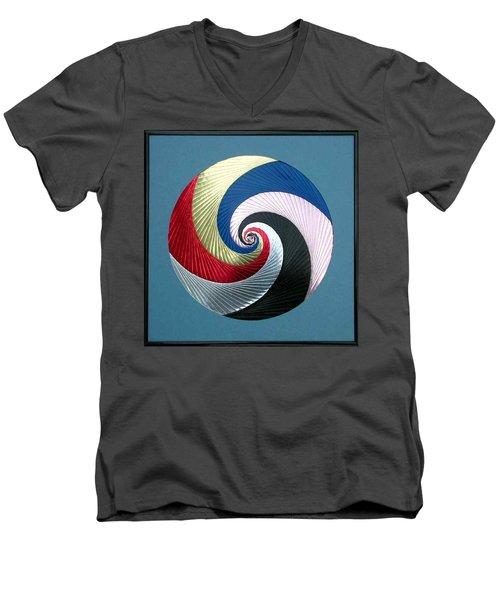 Men's V-Neck T-Shirt featuring the mixed media Pinwheel by Ron Davidson