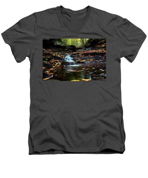 Pipestem Falls Men's V-Neck T-Shirt by Melissa Petrey