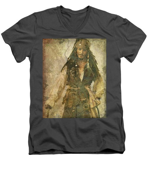 Pirate Johnny Depp - Steampunk Men's V-Neck T-Shirt by Absinthe Art By Michelle LeAnn Scott