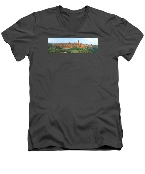 Men's V-Neck T-Shirt featuring the photograph Pitigliano Panorama by Alan Socolik