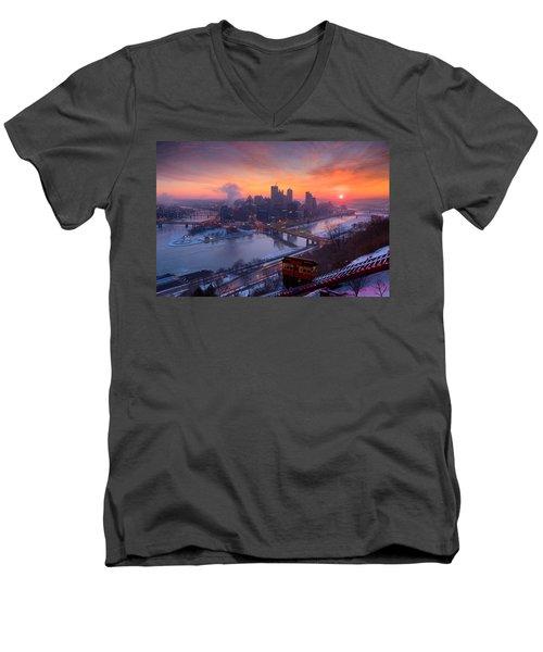 Pittsburgh Skyline Winter 2 Men's V-Neck T-Shirt by Emmanuel Panagiotakis