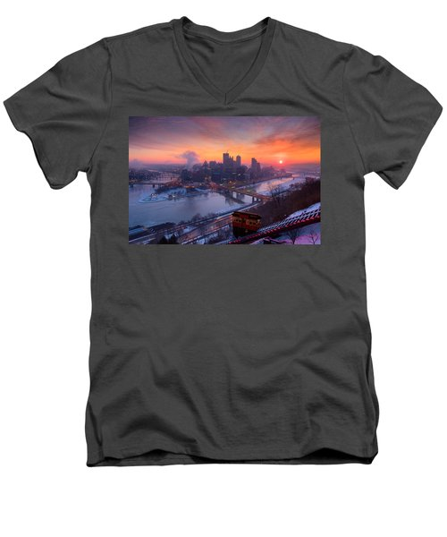 Pittsburgh Skyline Winter 2 Men's V-Neck T-Shirt