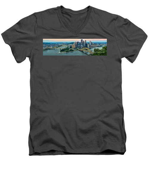 Pittsburgh Panorama At Dusk Men's V-Neck T-Shirt