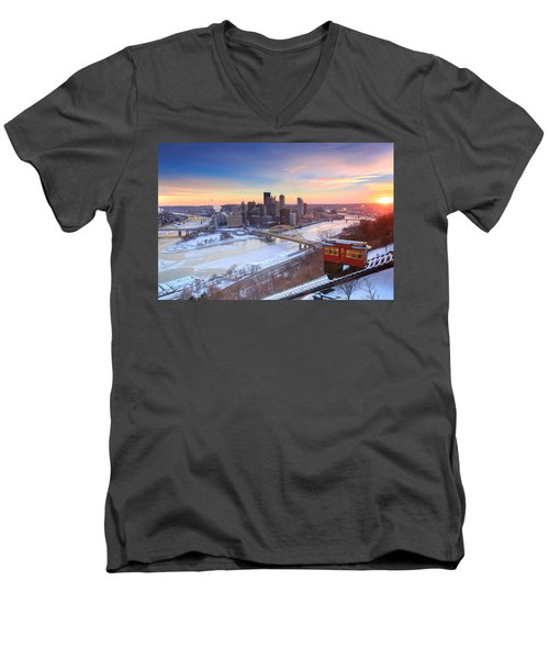 Pittsburgh Winter 2 Men's V-Neck T-Shirt by Emmanuel Panagiotakis