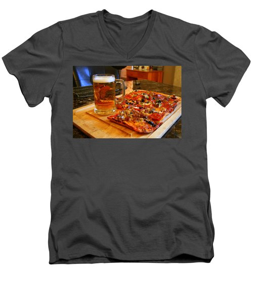 Pizza And Beer Men's V-Neck T-Shirt by Kay Novy