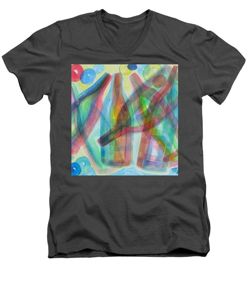 Men's V-Neck T-Shirt featuring the painting Plaid Wine by Diane Pape