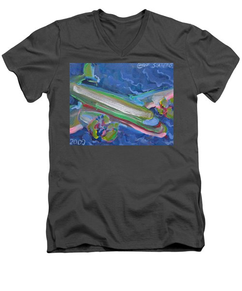 Plane Colorful Men's V-Neck T-Shirt