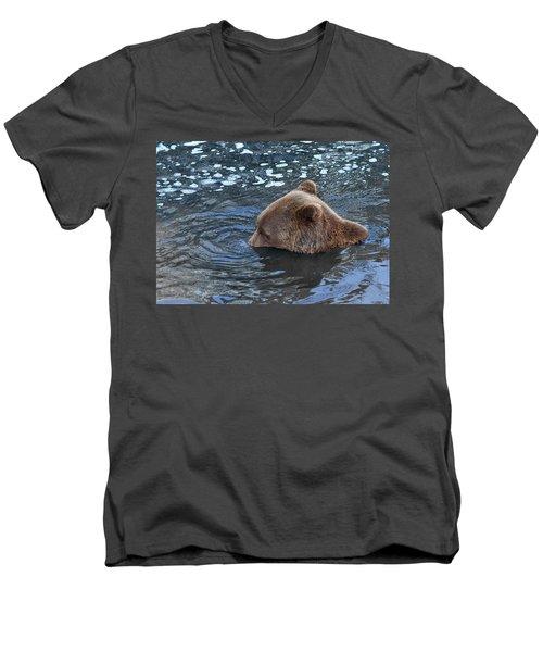 Playful Submerged Bear Men's V-Neck T-Shirt