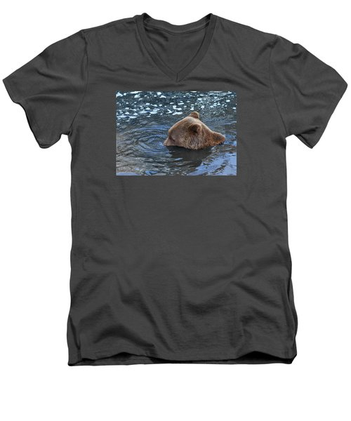 Men's V-Neck T-Shirt featuring the photograph Playful Submerged Bear by Dreamland Media