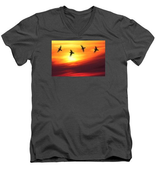 Men's V-Neck T-Shirt featuring the photograph Playful Sunset by Dreamland Media