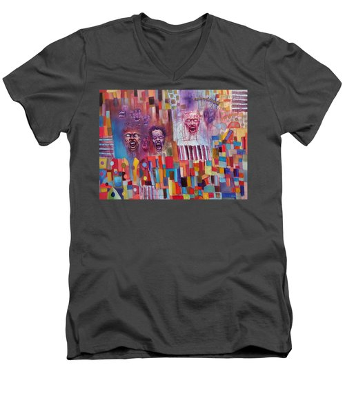 Men's V-Neck T-Shirt featuring the painting Playground Of The Undead by Jason Williamson