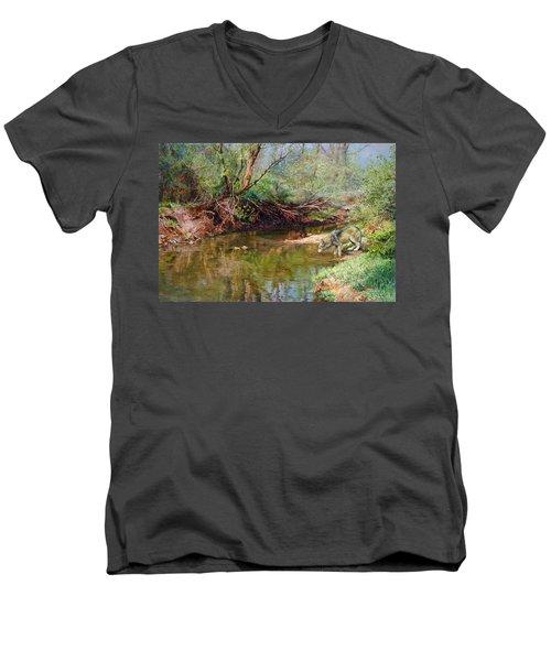 Pleasure Of  The Enchanted Wolf Men's V-Neck T-Shirt by Svitozar Nenyuk