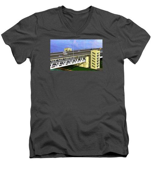 Podilsky Bridge Men's V-Neck T-Shirt by Oleg Zavarzin