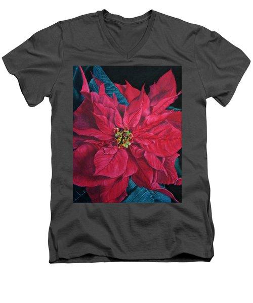 Poinsettia II Painting Men's V-Neck T-Shirt