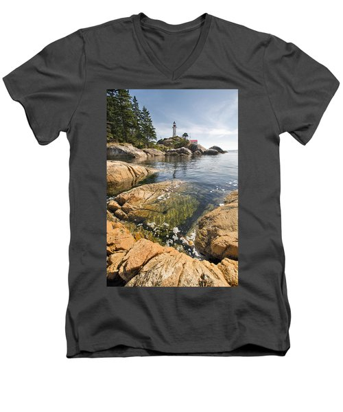 Men's V-Neck T-Shirt featuring the photograph Point Atkinson Lighthouse In Vancouver Bc Vertical by JPLDesigns