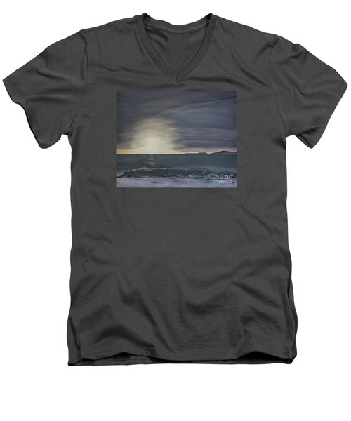 Men's V-Neck T-Shirt featuring the painting Point Mugu Sunset by Ian Donley