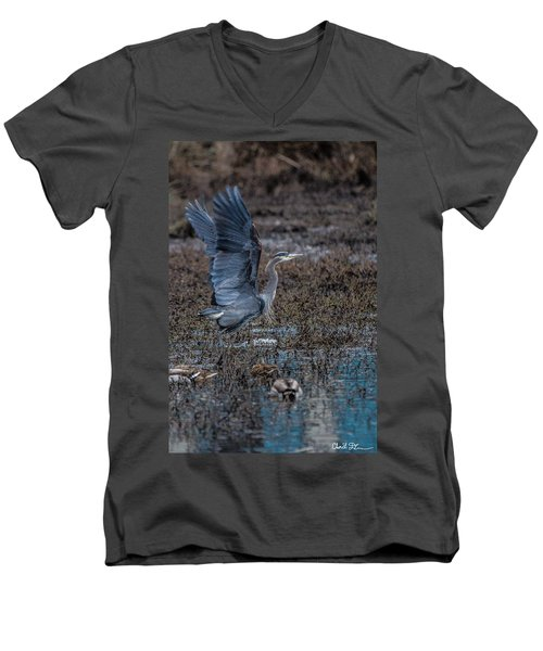 Poised For Flight Men's V-Neck T-Shirt by Charlie Duncan