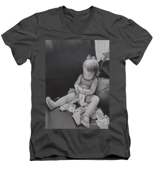 Pokerface Men's V-Neck T-Shirt by Pamela Clements