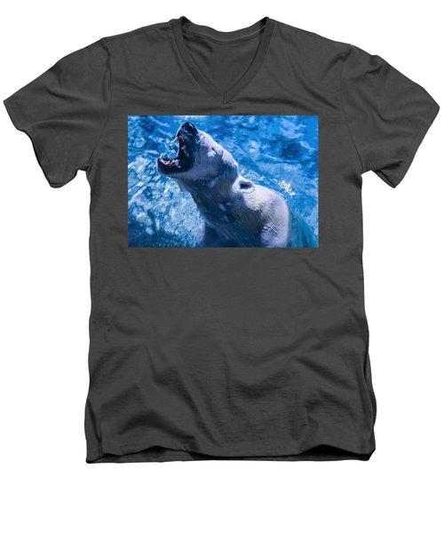 Polar Bear Men's V-Neck T-Shirt by Chris Flees