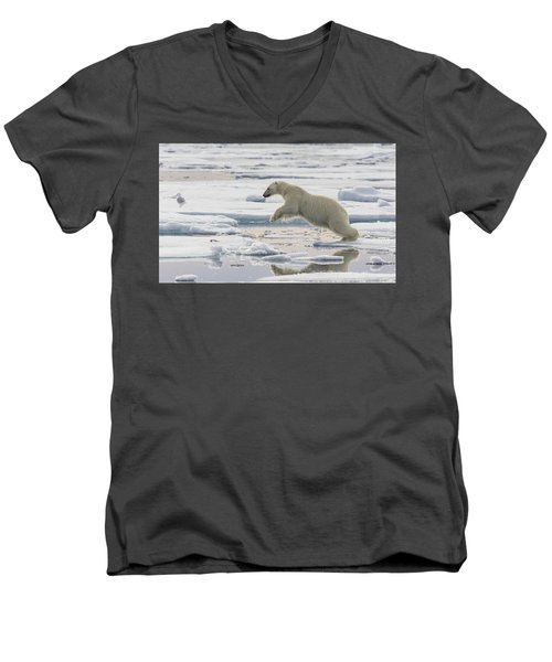 Polar Bear Jumping  Men's V-Neck T-Shirt