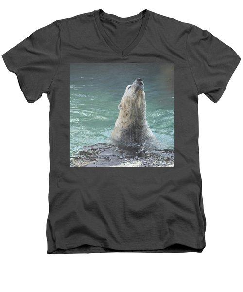 Polar Bear Jumping Out Of The Water Men's V-Neck T-Shirt by John Telfer
