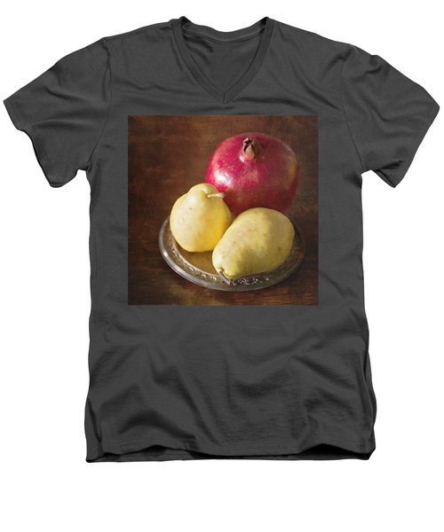 Pomegranate And Yellow Pear Still Life Men's V-Neck T-Shirt
