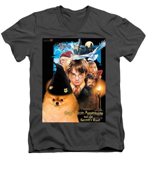 Pomeranian Art Canvas Print - Harry Potter Movie Poster Men's V-Neck T-Shirt