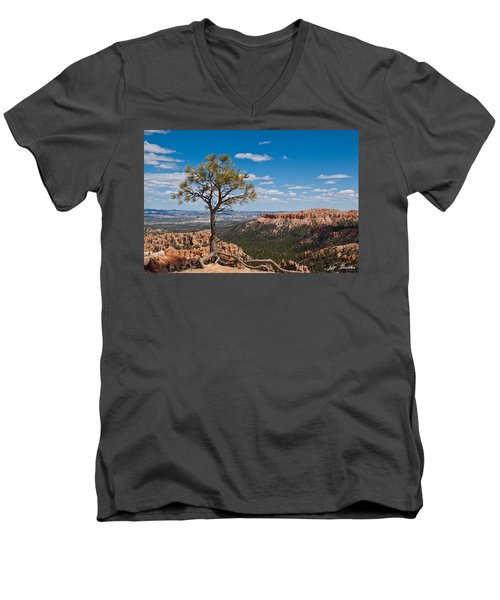 Ponderosa Pine Tree Clinging To Life On Canyon Rim Men's V-Neck T-Shirt by Jeff Goulden