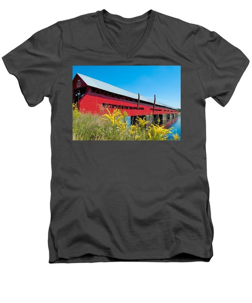 Men's V-Neck T-Shirt featuring the photograph Pont Marchand by Bianca Nadeau