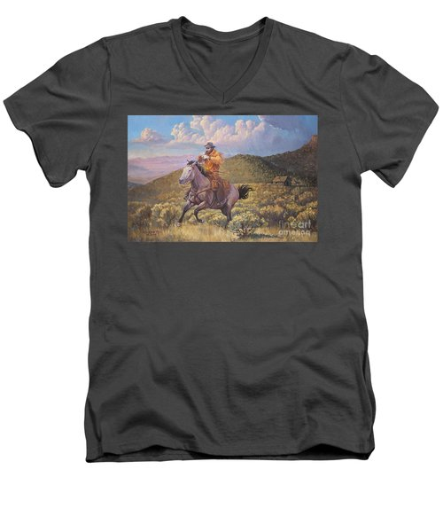 Pony Express Rider At Look Out Pass Men's V-Neck T-Shirt