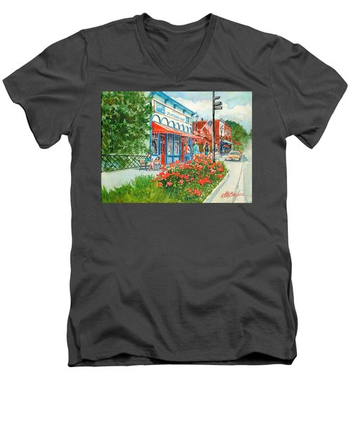 Popcorn Shop In Summer/chagrin Falls Men's V-Neck T-Shirt