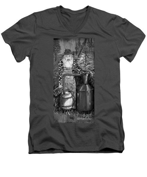 Popcorn Sutton - Black And White - Legendary Men's V-Neck T-Shirt
