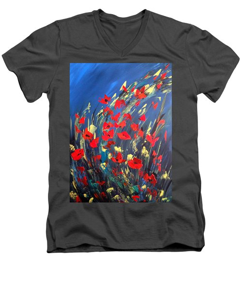Poppies Field On A Windy Day Men's V-Neck T-Shirt by Dorothy Maier