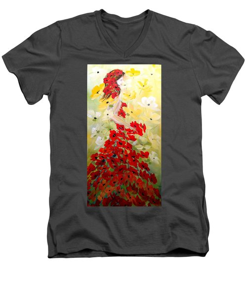Men's V-Neck T-Shirt featuring the painting Poppies Lady by Dorothy Maier