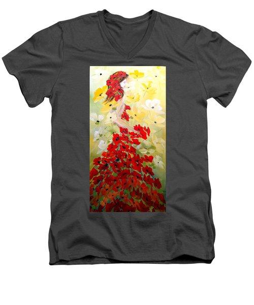 Poppies Lady Men's V-Neck T-Shirt