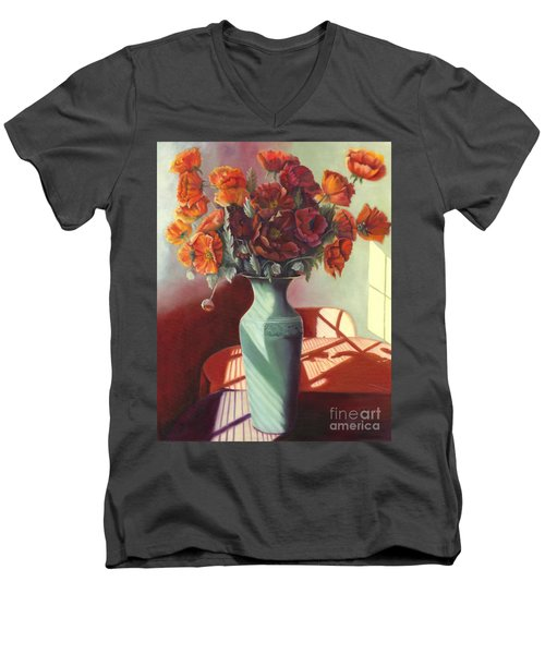 Men's V-Neck T-Shirt featuring the painting Poppies by Marlene Book