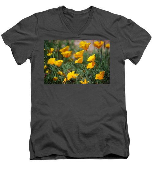 Men's V-Neck T-Shirt featuring the photograph Poppies by Tam Ryan