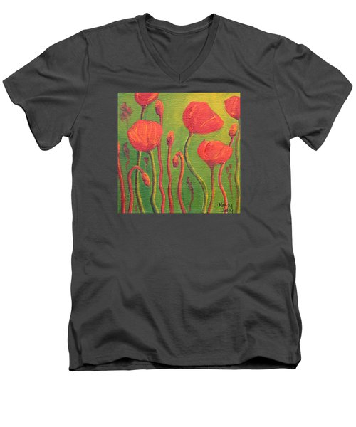 Men's V-Neck T-Shirt featuring the painting Poppy Field by Nancy Jolley